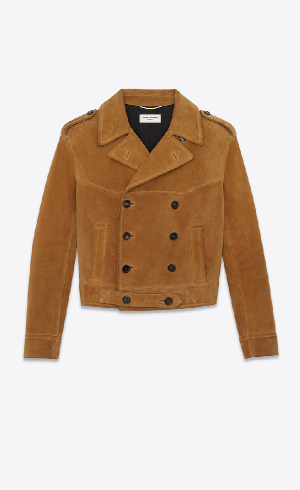 Saint Laurent Double-breasted Suede Jacket In Toffee