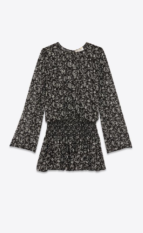 Saint Laurent Smocked Dress In Paisley-printed Silk Georgette In Black