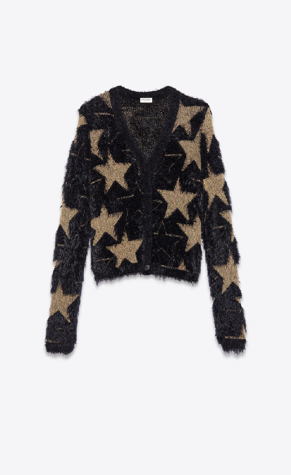 Saint Laurent Jacquard Sweater With Lurex Stars In Golden Black
