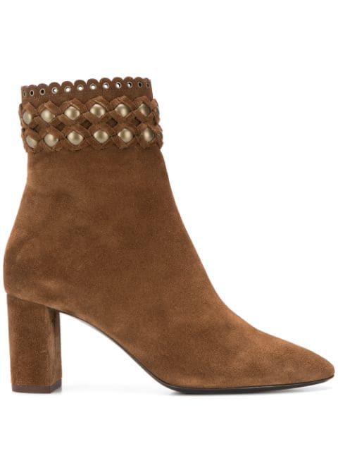 Saint Laurent Lou Suede Ankle Boots Decorated With Studs In 2330 Land