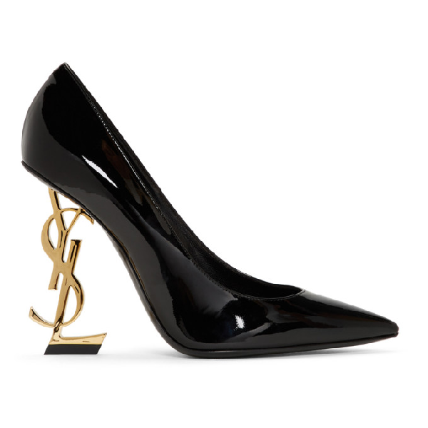 Saint Laurent Opyum Pumps With Gold-toned Heel In Patent Leather In 1000 Black