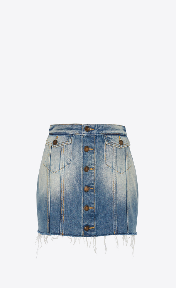 Saint Laurent Buttoned Skirt In Seventies Blue Denim In Used 70's Blue