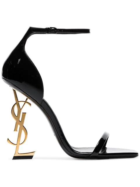 Saint Laurent Opyum Ysl Logo-Heel Sandals With Golden Hardware, Black