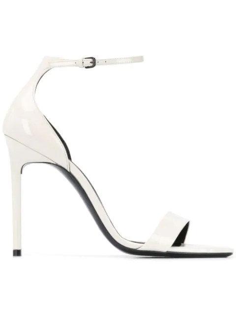 Saint Laurent Amber Sandals In Patent Leather In Neutrals