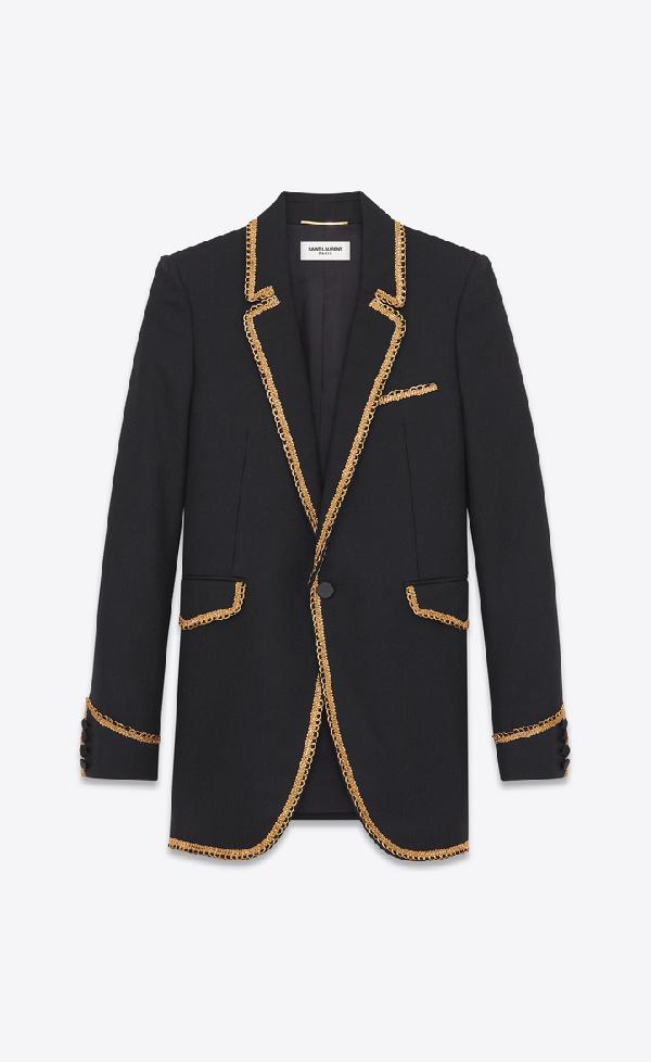 Saint Laurent Chevron Jacket With Gold Braid In Black