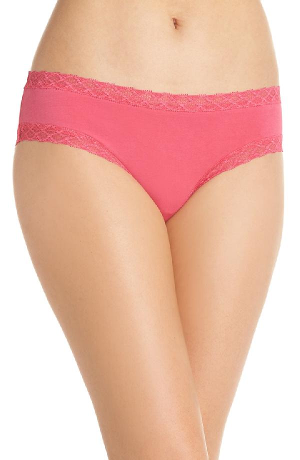 Natori Bliss Cotton Girl Briefs In Hot Pink