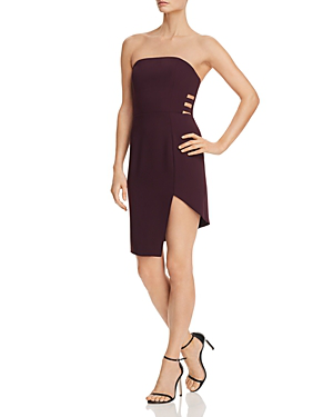 Amanda Uprichard Chrysler Strapless Asymmetric Cutout Dress In Black Cherry