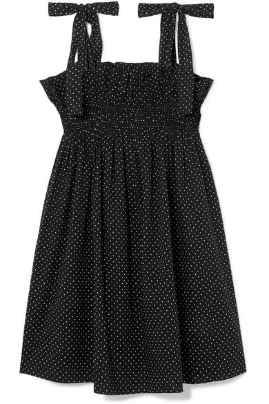 Ganni Polka-dot Cotton-voile Mini Dress In Black