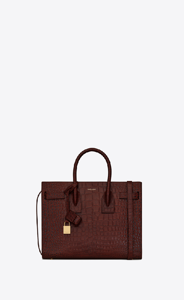 Saint Laurent Classic  Sac De Jour Small In Shiny Crocodile-embossed Leather In Amber