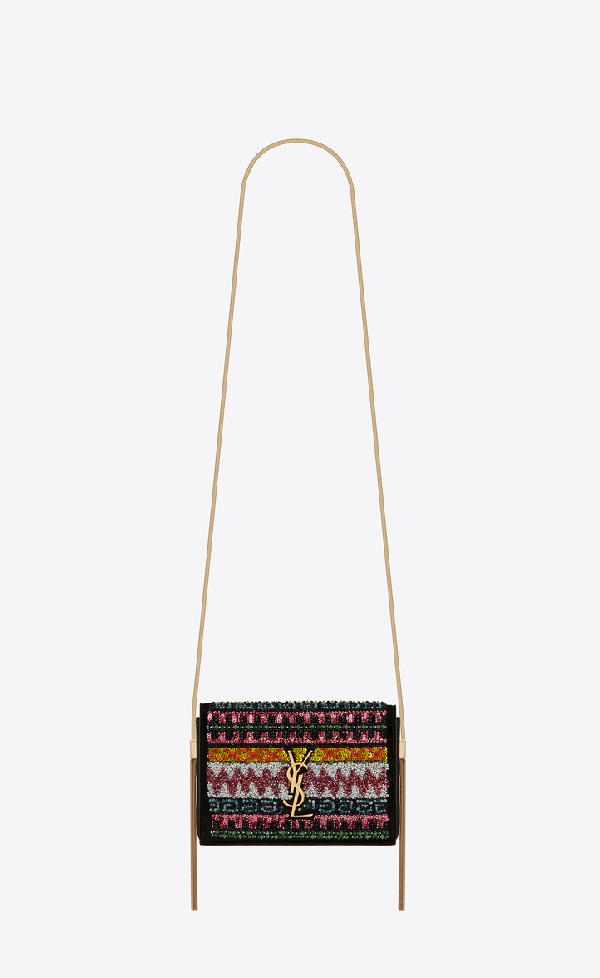 Saint Laurent Small Kate Bag With Suede Tassel Decorated With Zigzag Embroidery In Multicolor Black