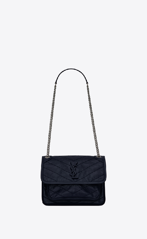 Saint Laurent Niki Baby In Crinkled Vintage Leather In Midnight Blue