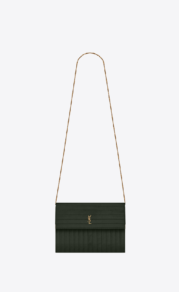 d156de5e2d Victoire Chain Bag In Crinkled Leather in Deep Green