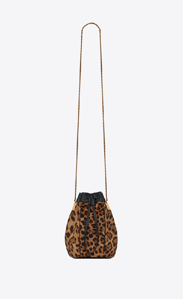 Saint Laurent Talitha Small Bucket Bag In Ponyskin-look Leather With A Leopard Print In Natural