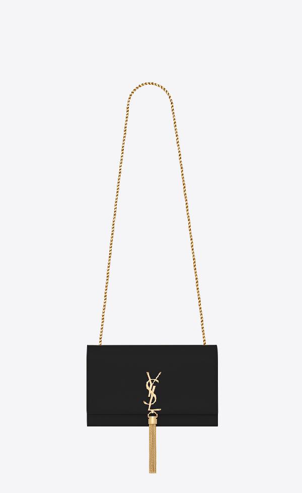 Saint Laurent Kate Medium Bag With Leather Tassel In Grain De Poudre Embossed Leather In Black