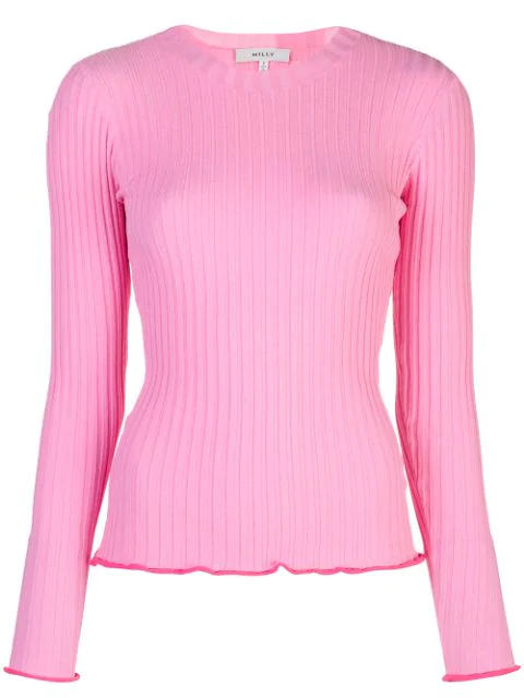 Milly Ribbed Pullover Sweater In Pink