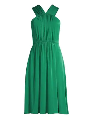 Milly Radrel Silk-blend Halter Dress In Emerald