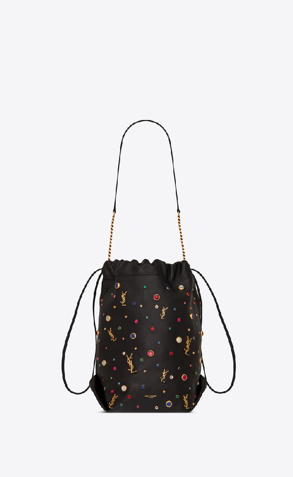 fdbcd4e46fc Saint Laurent Teddy Bucket Bag In Leather And Charms In Black | ModeSens
