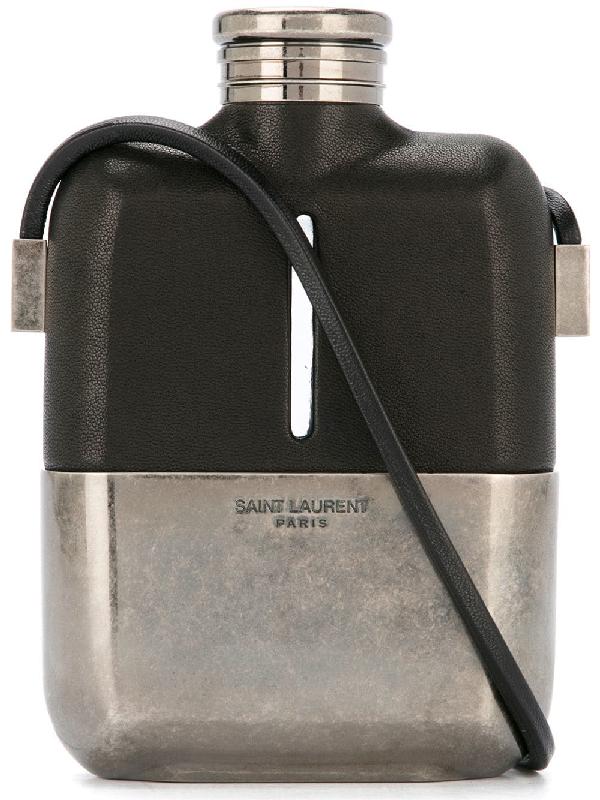 Saint Laurent Rider Flask Shoulder Bag In Black