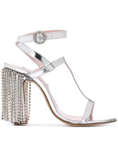 Leandra Medine T-Strap Sandals With Rhinestones - Silver