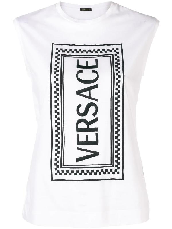 127b13c4 Versace Vertical 90S Vintage Logo T-Shirt In White   ModeSens