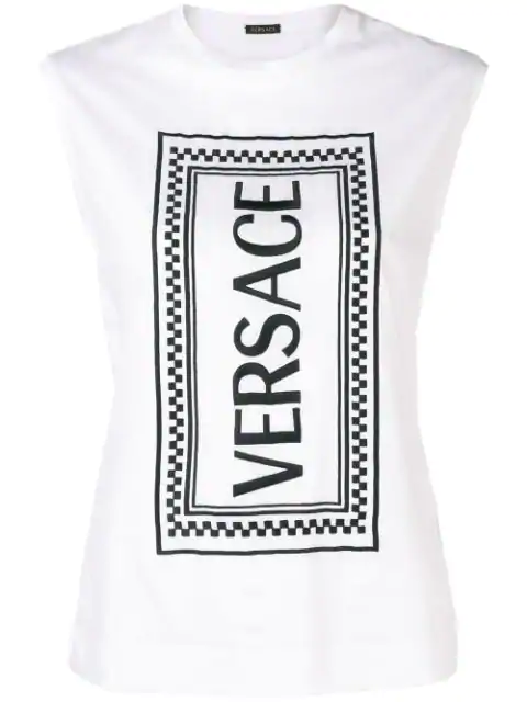 Versace Rectangular Logo Printed Tank Top In White