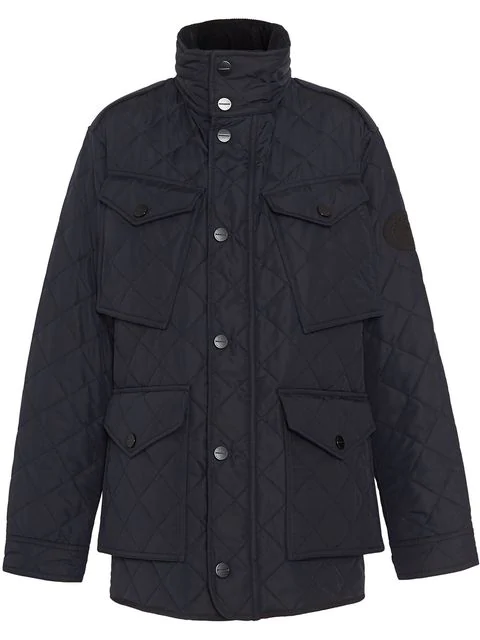 Burberry Diamond Quilted Thermoregulated Field Jacket In Navy