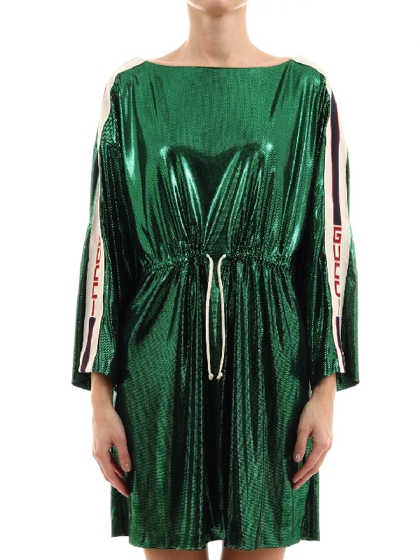 Gucci Laminated Long Sleeve Dress In Green