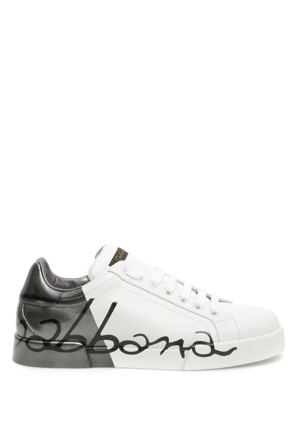 Dolce & Gabbana Portofino Sneakers In Bianco Rutenio