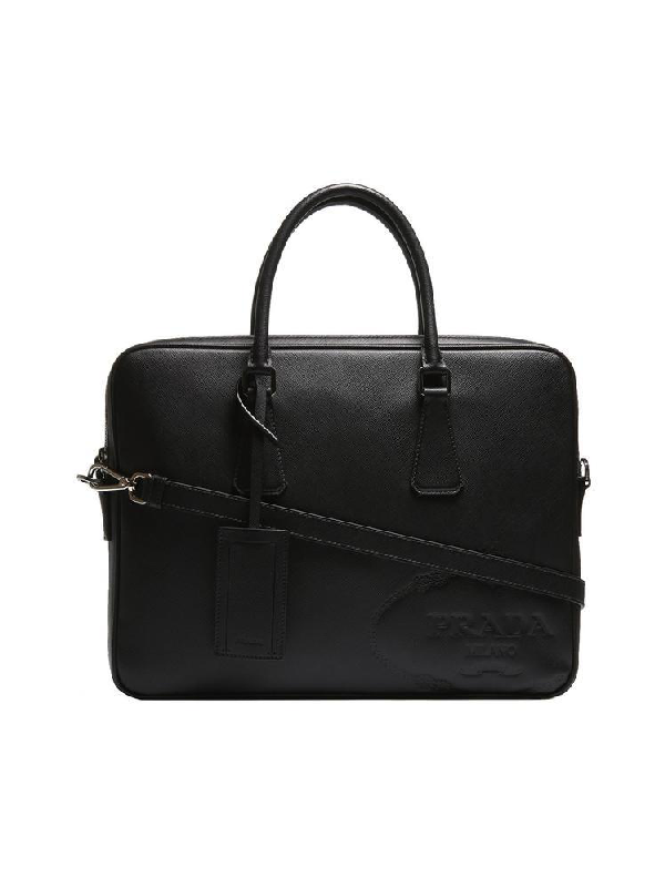 Prada Embossed Saffiano Laptop Bag In Black