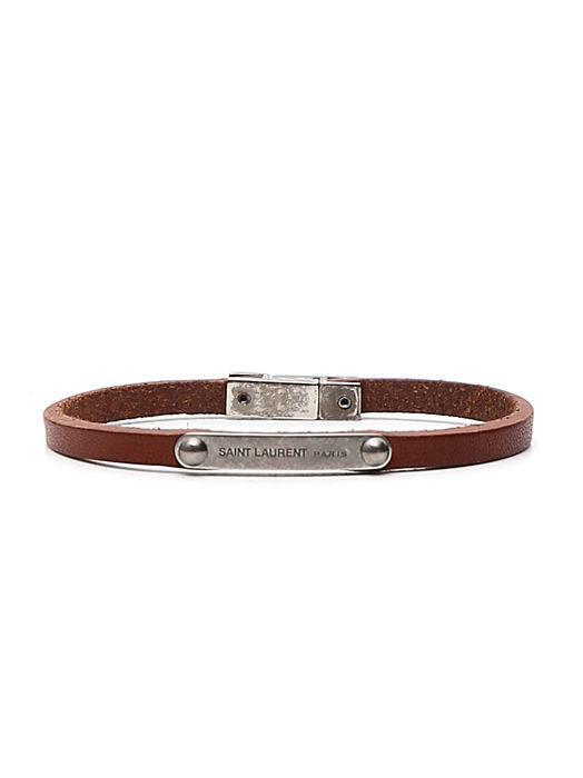 Saint Laurent Logo Plaque Leather Bracelet In Brown