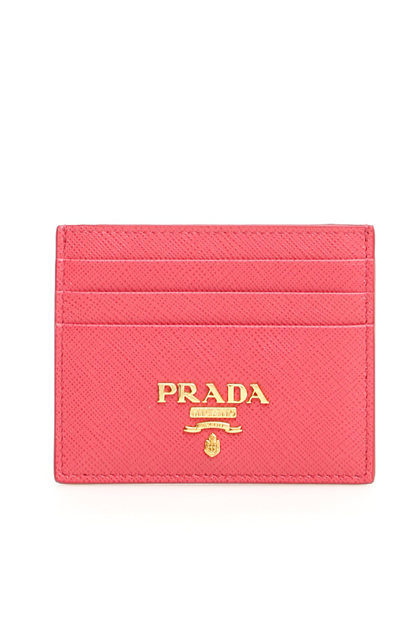 Prada Logo Leather Card Holder In Pink