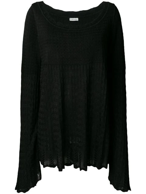 Alaïa 1990's Knitted Empire Blouse In Black
