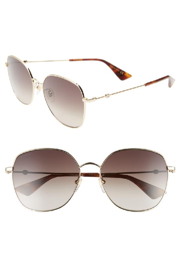 1c4230cbd43ad Gucci 59Mm Round Sunglasses - Gold  Brown Gradient