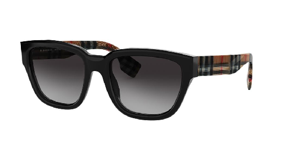 Burberry 54mm Polarized Gradient Square Sunglasses - Black/ Black Gradient In Grey-black