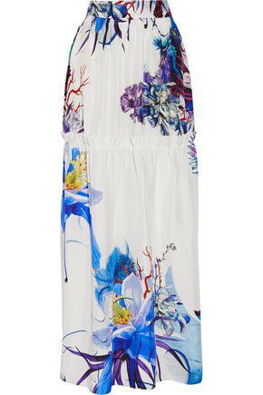 Roberto Cavalli Woman Tiered Printed Silk Maxi Skirt White