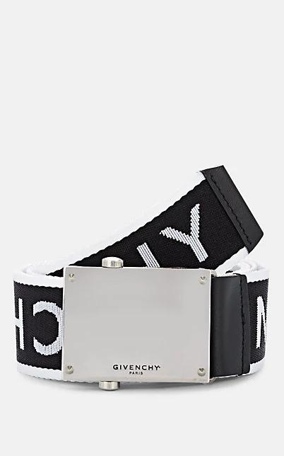 Givenchy 3.5Cm Leather-Trimmed Logo-Jacquard Webbing Belt In Wht.&Blk.