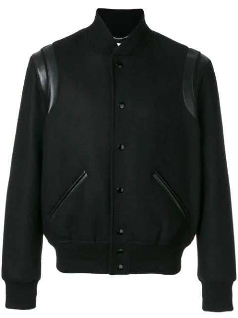 Saint Laurent Leather-Trimmed Cotton-Corduroy Bomber Jacket In 1000 Black