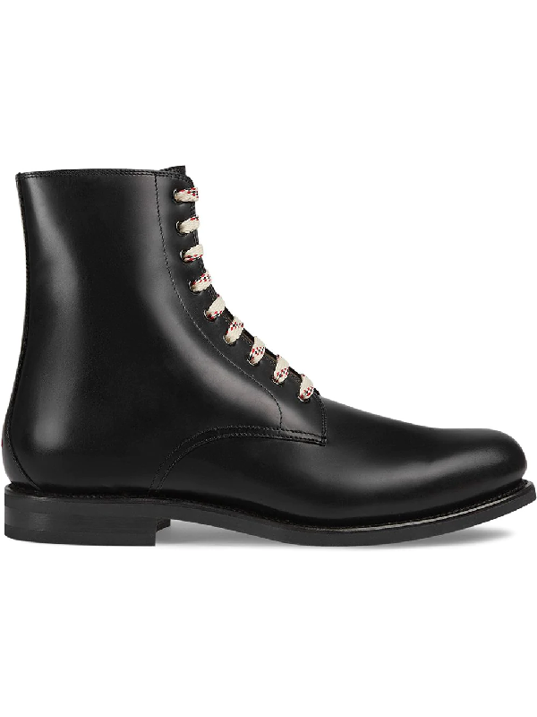 Gucci Lace Up Leather Boots In Black