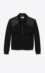 Saint Laurent Tiered Leather-Trimmed Wool Bomber Jacket In Black.