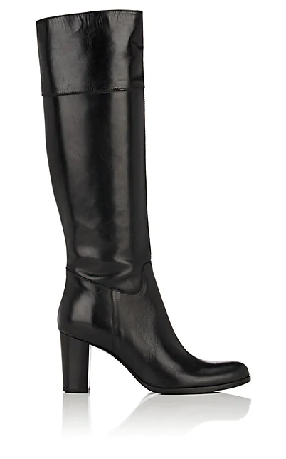 Barneys New York Leather Knee Boots In Black