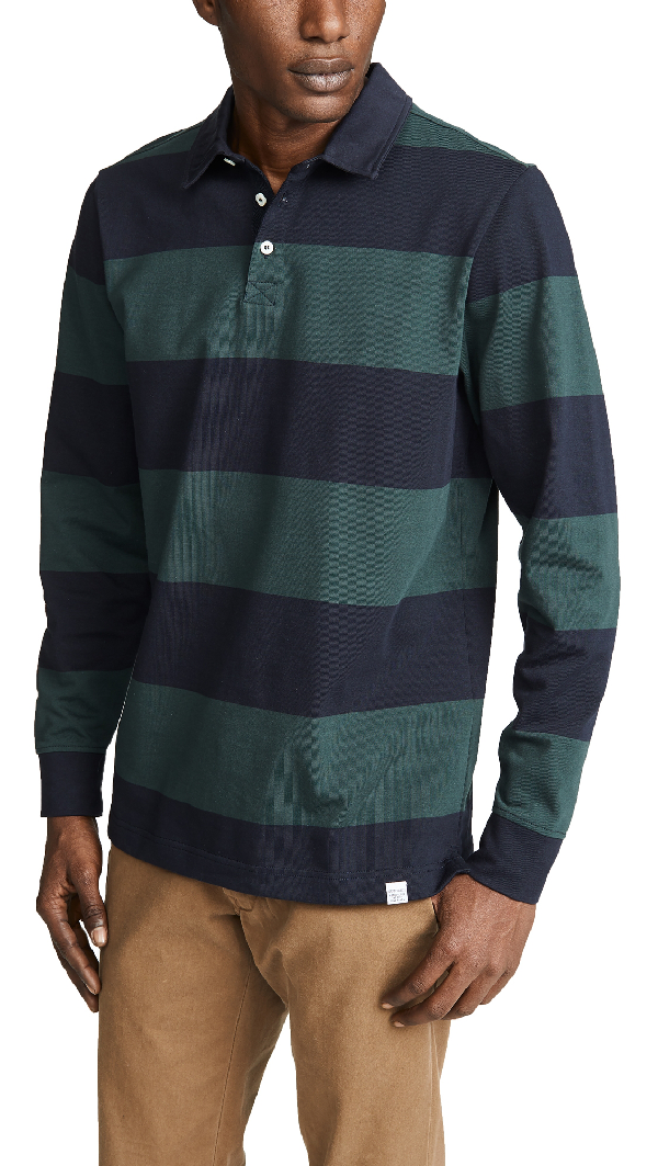 665bce96290 Norse Projects Ruben Striped Cotton Polo Shirt In Spinnaker Green ...