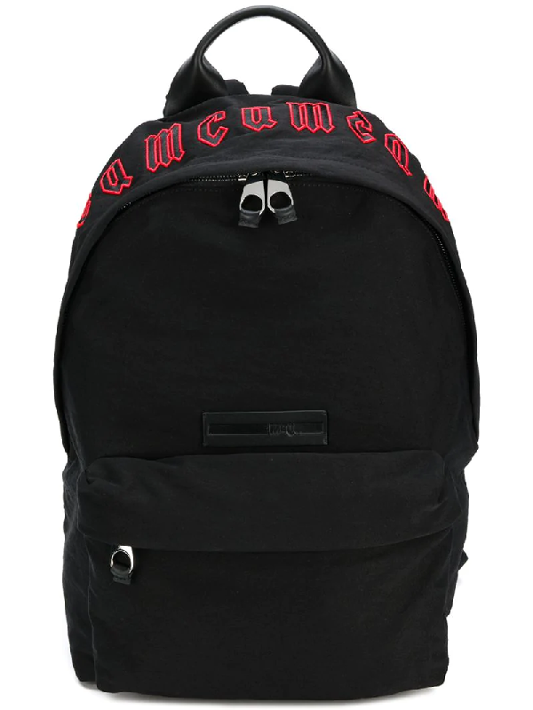 Mcq By Alexander Mcqueen Mcq Alexander Mcqueen Mcq Red Gothic Repeat Black Cotton Classic Backpack