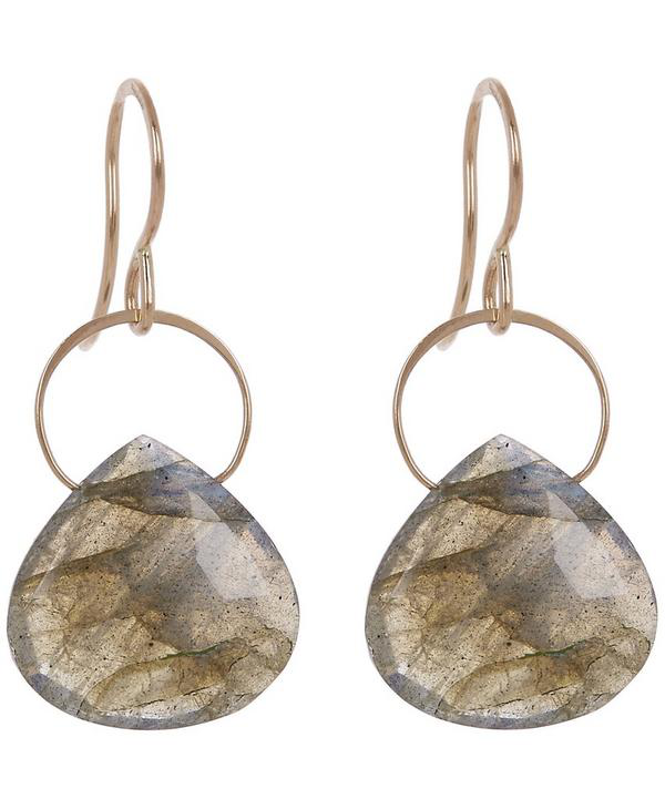 Melissa Joy Manning Gold Labradorite Single Drop Earrings