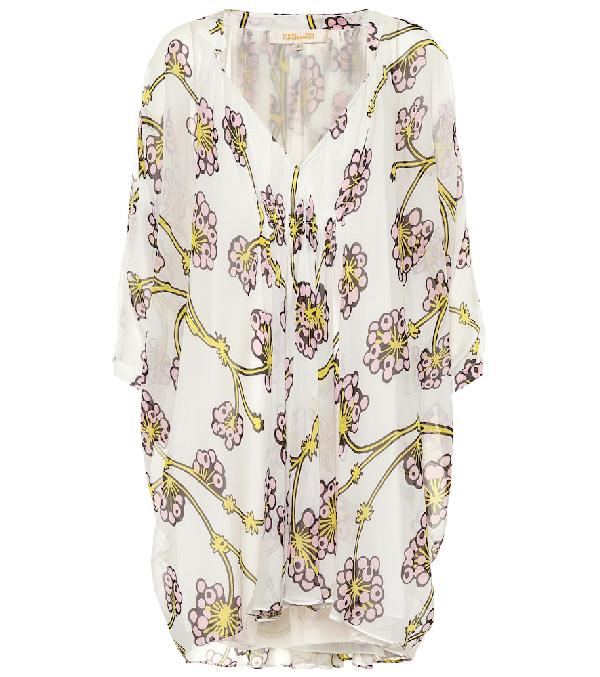 3cc918a792d51 Diane Von Furstenberg Fleurette Floral Silk Shirred Coverup Dress In White