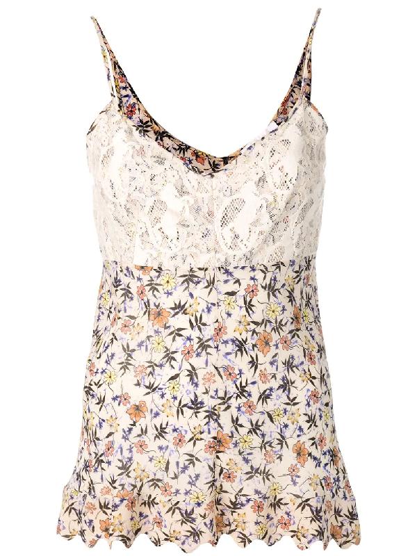 ChloÉ V-Neck Lace-Bodice Cami-Strap Floral-Print Viscose Top In Neutrals
