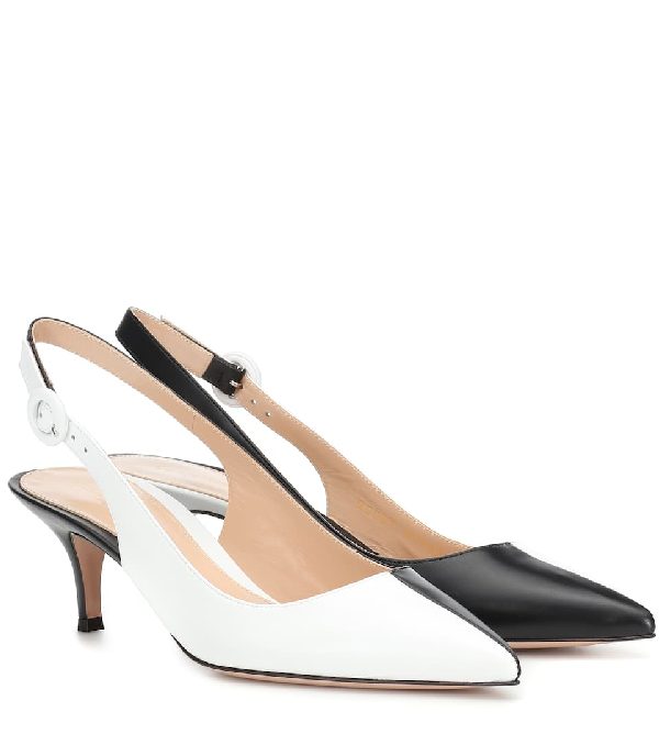 Gianvito Rossi Arleen 55 Leather Slingback Pumps In White
