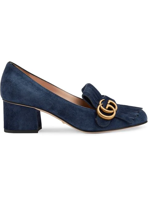 Gucci Women's Leather Pumps Court Shoes High Heel Doppia Gg In Blue