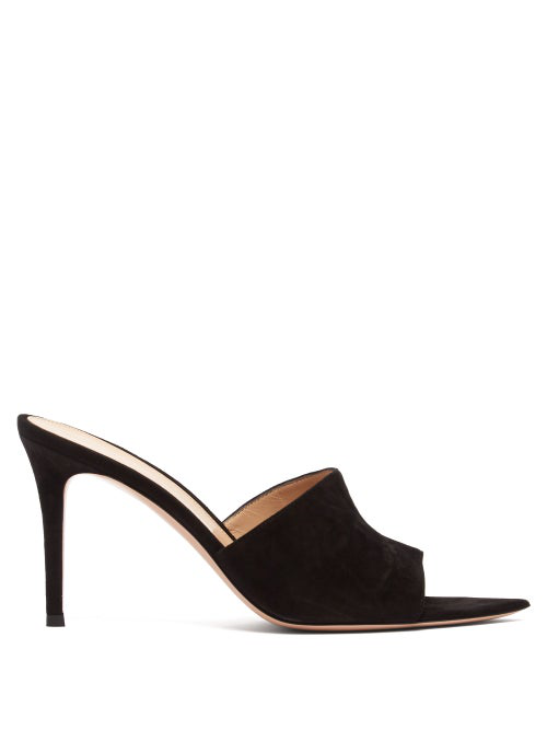 Gianvito Rossi Point-Front Smooth Leather Slide Sandals In Black