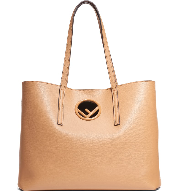 78eec483142a Fendi F Logo Calf Leather Shopping Tote Bag In Miele Scuro  Taupe ...