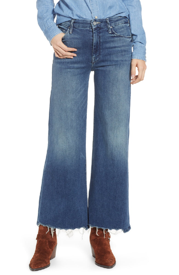 bb2aa80aab Mother The Stunner Roller Ankle Chewed-Hem Wide-Leg Jeans In Be Careful What